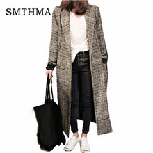 2667553431878c SMTHMA 2019 winter Runway Tweed wool coat women jacket and casual lattice  Single-breasted long plaid coat abrigo mujer