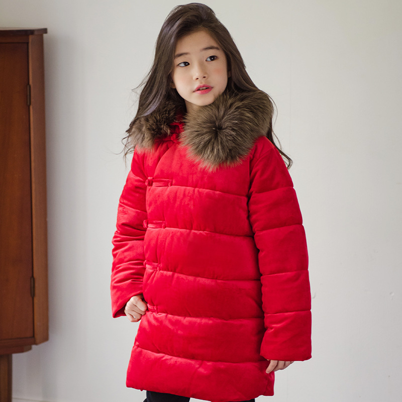 Thicken Winter Jackets For Girls 2018 Christmas Teenage Girls Fur Collar Kids Coats Cotton Padded Down Parkas Warm Costume 10 12 цена