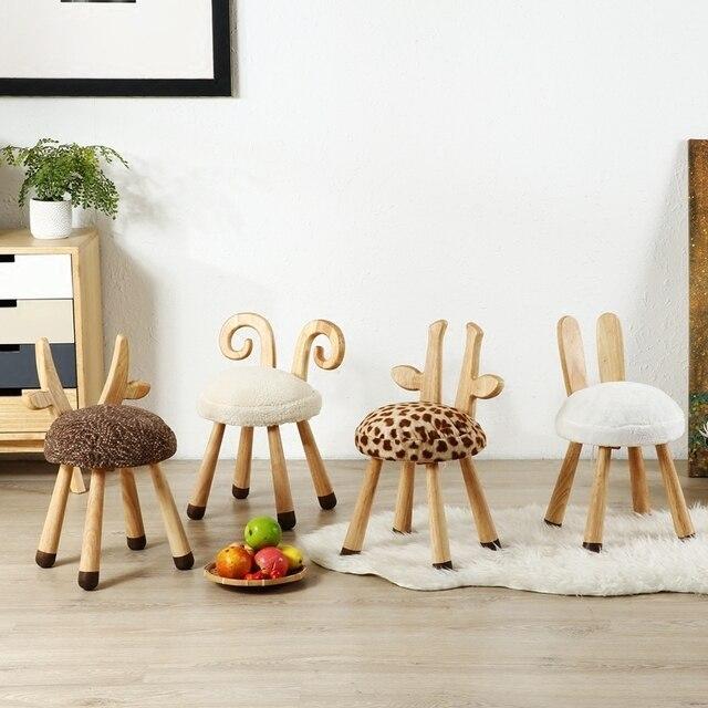 חם מיהר פוף Poire Taburetes כיסא נורדי מוצק עץ ספסל ביתי החלפת נעלי שרפרף עגול ילדי קריקטורה בעלי החיים