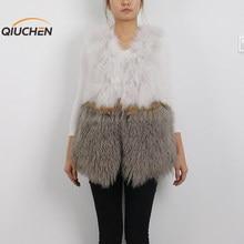 QC9519  winter women fur coat high quality real mongolia sheep fur vest   real sheep fur gilet   genuine  fox  fur vest