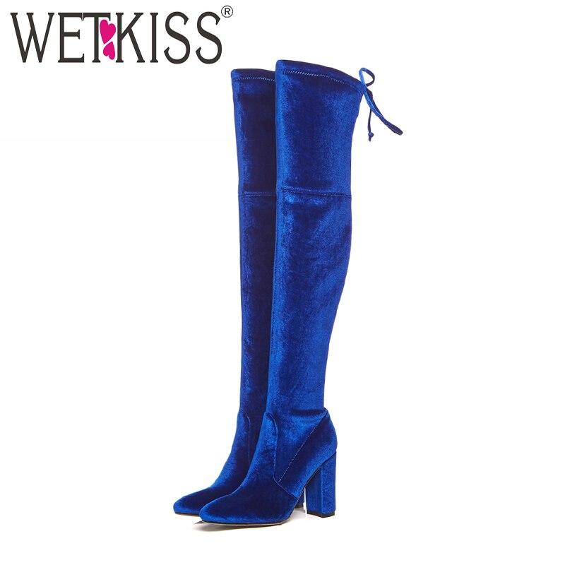WETKISS Pleuche High Heels Women Boots Cross Tied Round Toe Footwear Over The Knee Female Boot Shoes Women 2018 Blue Autumn cross back reversible pleuche swimwear