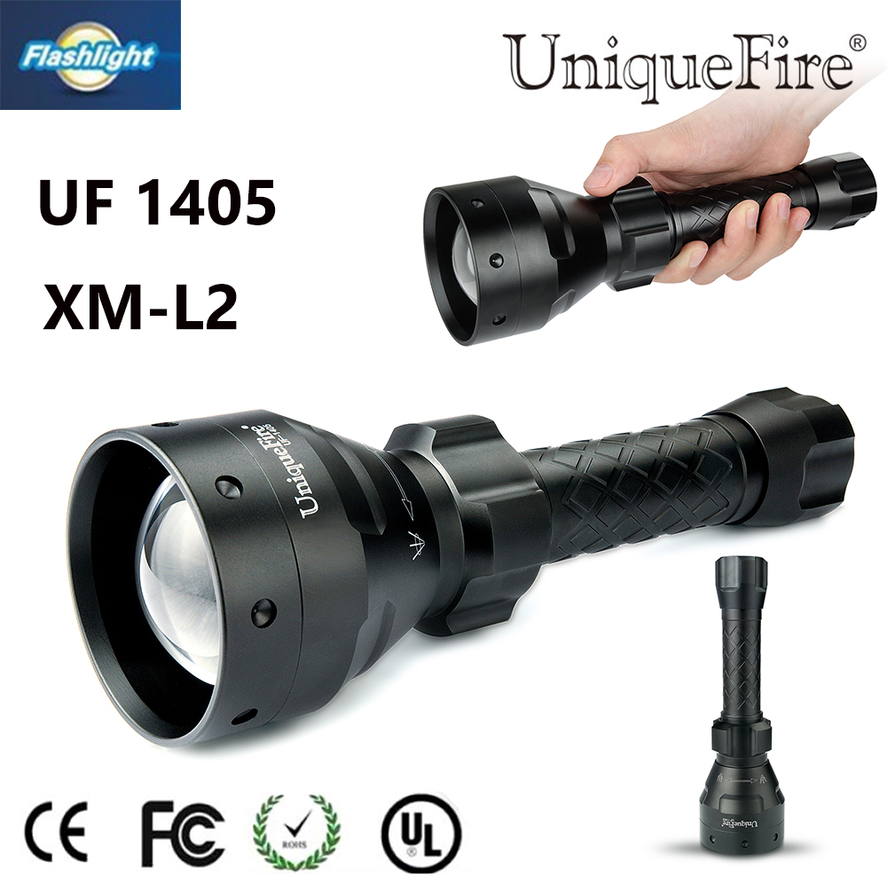 Uniquefire 1405 Zoomable Illumination Flashlight CREE XM-L2 LED Torch 5 Mode White Light For 2*26650/18650 Free Ship led hunting flashlight uniquefire green red white light uf 1503 xpe torch alumium metal for outdoor camping free shipping
