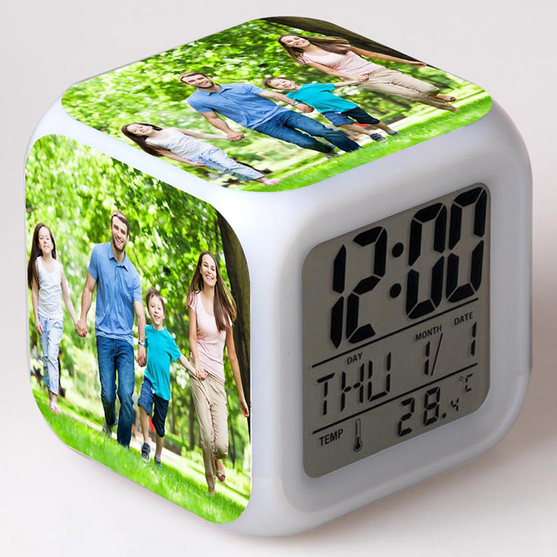 Custom Family Photo Alarm Clock LED Colorful Flash Touch Night Light Watch Customized Toys For Children Birthday Gift