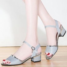 Summer Gladiator Sandals Women Pumps Genuine Leather Shoes Woman Sexy Gold Sliver High Heels Ankle Strap Thick Heels YG-A0199 стоимость