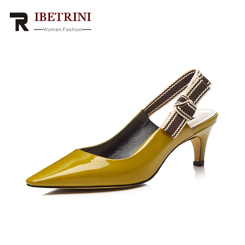 RIBETRINI Kid Genuine Leather Brand Shoes Pointed Toe High Heels Elastic Band Party Wedding Shoes Sandals Women Shoes Size 33-40