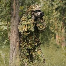 Hunting Ghillie Suit 3D Camo Bionic Leaf Camouflage Jungle Woodland Birdwatching Poncho Manteau Hunting Clothing Durable(China)