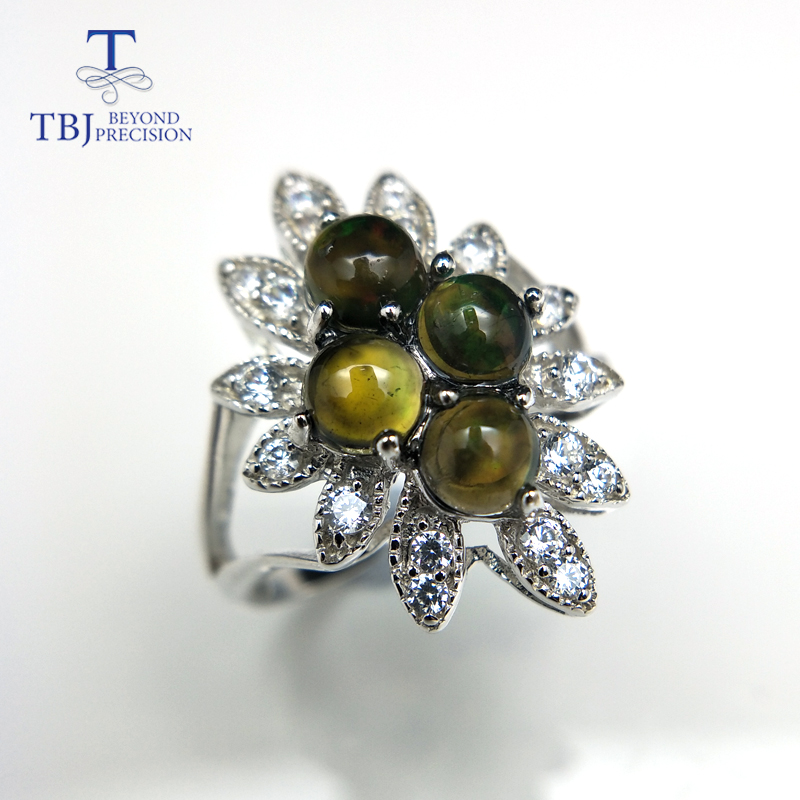 TBJ,Lady gemstone ring with dyed black opal classic petals Ring in 925 sterling silver for women girls wife girlfriend gift