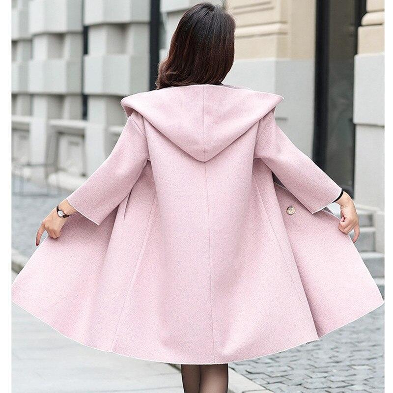 Abrigo De Tamaño Elegante Lana Moda blanco Vintage Coreano Estilo Más Rosado Invierno 2018 Rosa Largo Mujer Abrigos XUXx4FnC