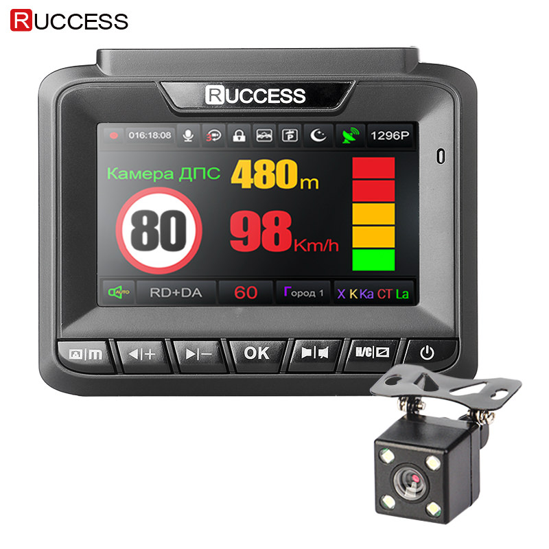 Ruccess 3 in 1 DVR Dash Camera full HD 1080p Car Camera MSTAR Dual lens Video recorder GPS Radar Detector Parking Guard