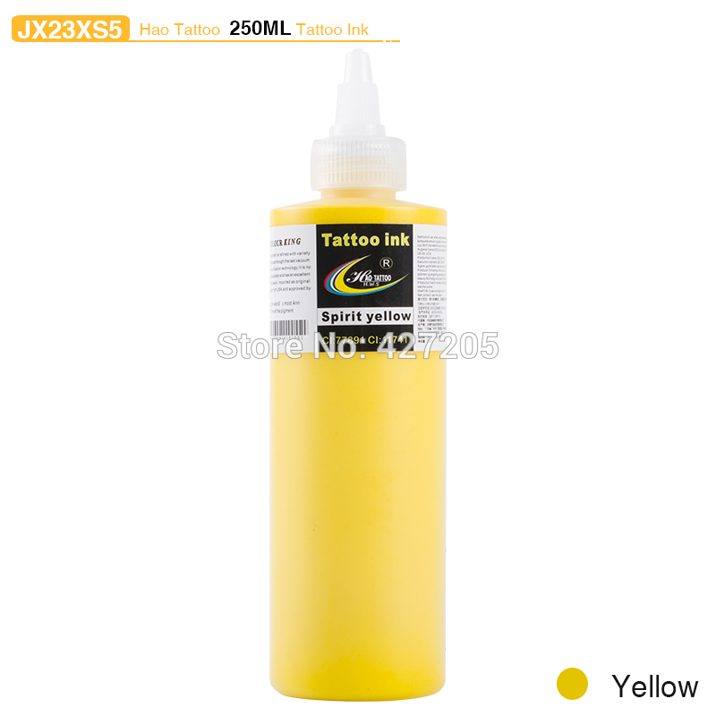 ФОТО Hao Tattoo JX23XS5 250ml/bottle Tattoo Ink Supply Yellow Color Top Pigment for Body Art Tattoo Kits Supplies