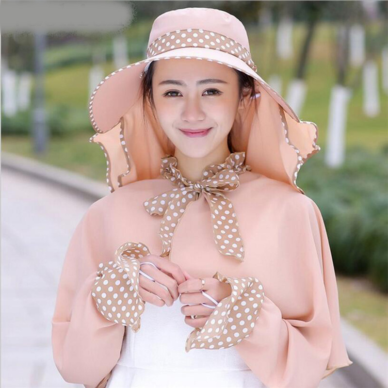 Free Delivery Cotton Dot Big Eaves Summer Hats For Women Foldable Covered Face Neck Cycling Anti Uv Sun Hat