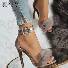 XIUNINGYAN Woman Sandals Snake Skin High Heel Ankle Strap Faux Fur Wedding  Pumps Fashion Sexy Party Shoes Sapato Feminino 11cm 661e8969e4ef