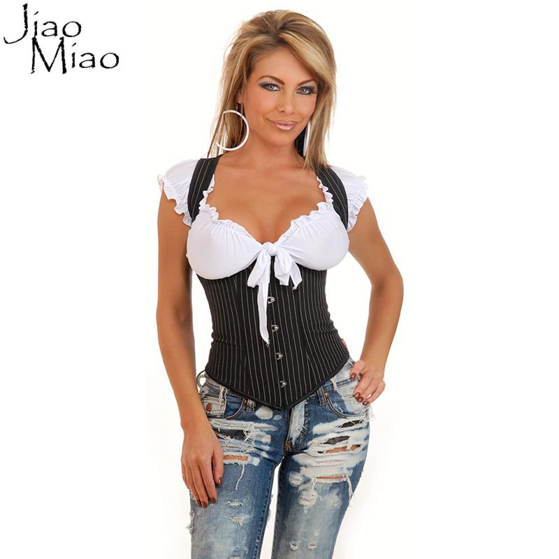 Jiao Miao 2017 Hot Black Underbust Slimming Body Shapewear Strap Sexy Waist trainer Corsets And Bustiers Gothic Corselet Vest