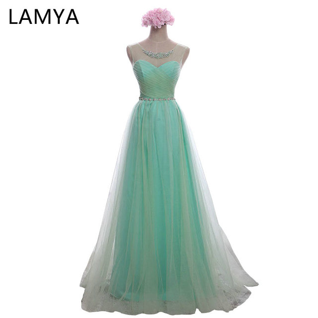 eddd9b492d LAMYA barato largo Chiffion con cristal Vestidos De dama De honor 2018  vestido Formal De moda