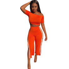 Side Striped Sexy Two Piece Sets Women Slash Neck Off the Shoulder Crop Top + Split Ankle-length Pants Casual Sweat Suit Outfits off the shoulder striped top