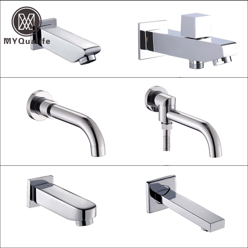 Free Shipping Chrome Brass Wall Mounted Tub Spout Concealed Install Bath & Shower Tub Filler