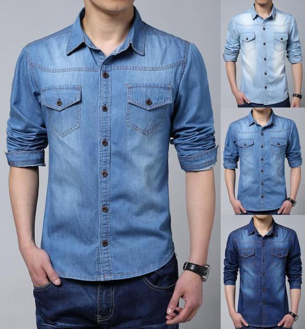 5c236db1137 Plus Size 5XL Men Shirt Fashion Denim Shirt 100% Cotton Camisas Casual Jeans  Shirt Slim Fit Long Sleeves Denim Cloth Shirts