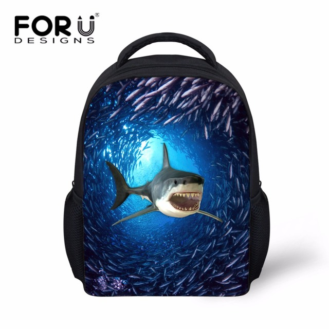 FORUDESIGNS Printing 3d Shark School Bags for Baby Boys Cool Little Kids  Dolphin Satchel Bookbag Classic Pre Child Schoolbags