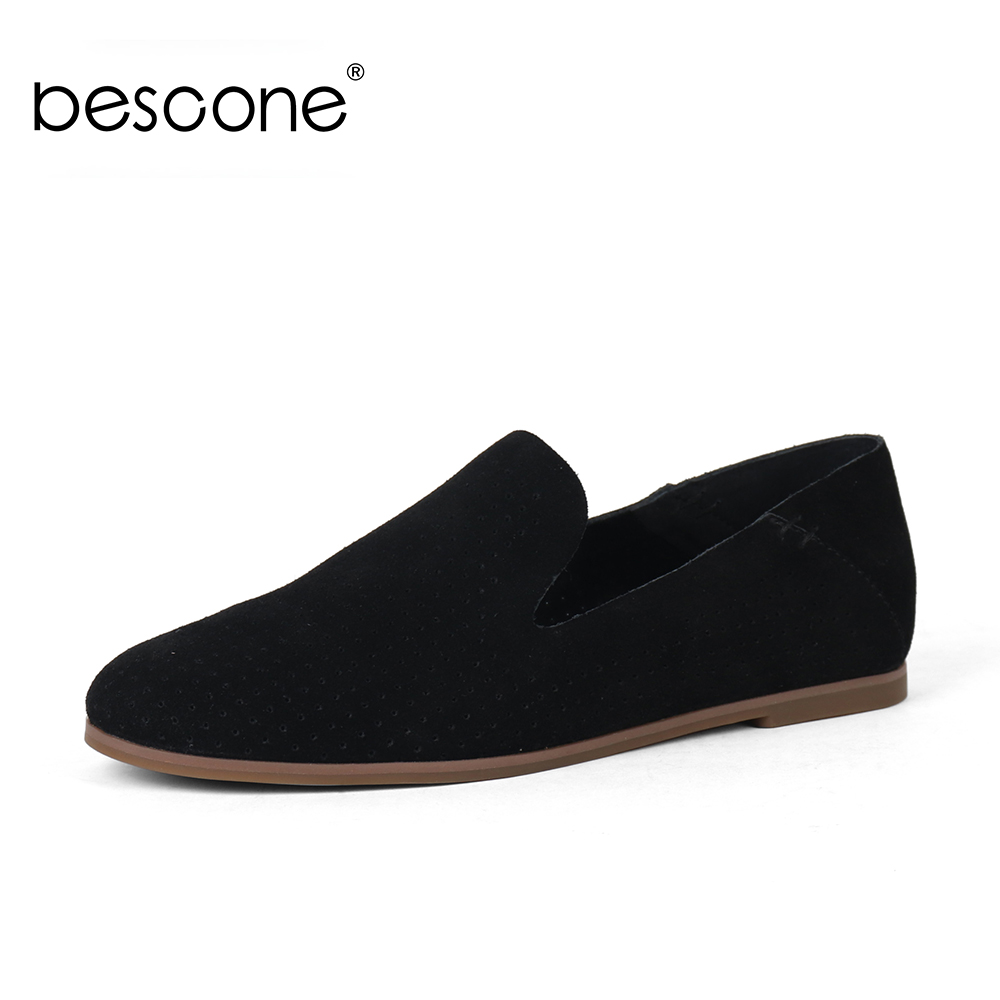 BESCONE New Comfortable Solid Round Toe Ladies Flats Casual Shallow 1 cm Low Heel Shoes Basic Slip-On Outside Women BY23
