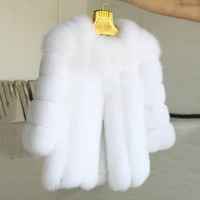 Winter Women Luxury Fur Coat Elegant Long Faux Fox Fur Coats Furry Fake Fur Jacket