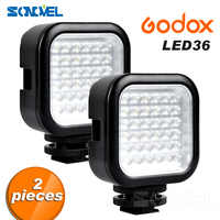 2PCS Godox LED Video Light 36 LED Lights Lamp Photographic Lighting 5500~6500K for Nikon Canon Sony Digital Camera Camcorder DVR
