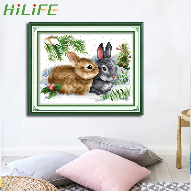 HILIFE вышивки крестом Рукоделие наборы для ухода за кожей кролик узор ремесла вышивка 11CT печати ткань DIY