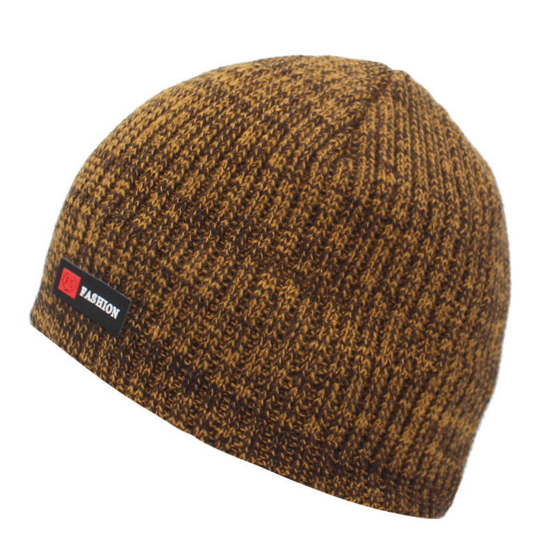 Luxury yarn Brown Yellow Chunky  Hand Knitted  Hat for Men Women Winter accessories Knit beanie Warm Winter hat Ready to ship