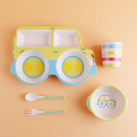 Dinnerware Dishes Bowl Spoon Fork Food Container 5Pcs/Set Children Car Shape Bamboo Fiber Tableware Set Baby Feeding Plate