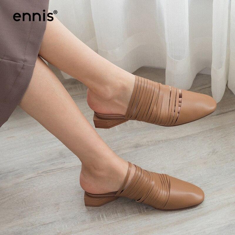 Mode Apricot Chaussures Abricot Cool 2019 Pantoufles black De Véritable Shoe M905 Mules Dames Femmes En Faible Noir Été Marque Talon Cuir Détouré Printemps ww1ZAnIq