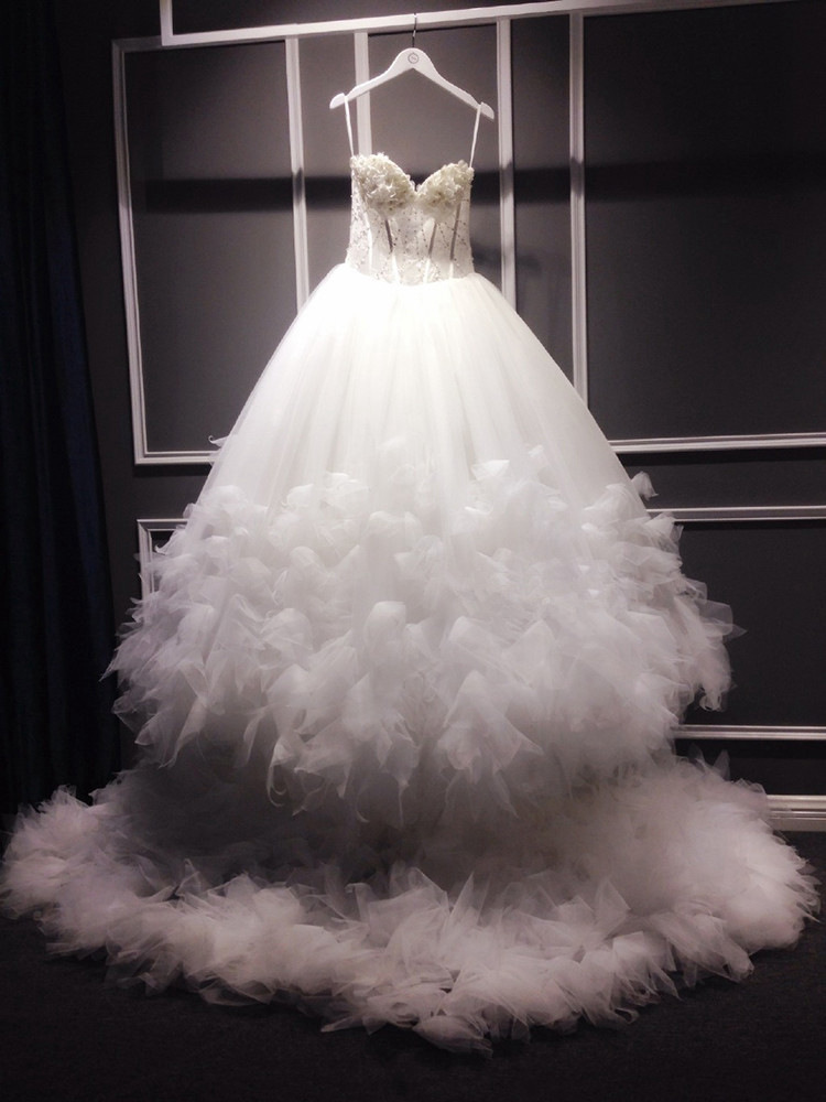 Robe De Mariee sur mesure Robe De fleurs en dentelle De luxe pour la fête De mariage avec Train bretelles élégantes robes De mariée princesse 2019 4
