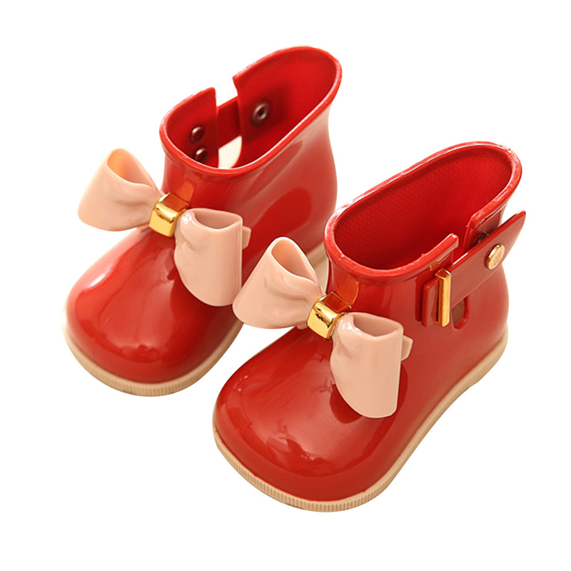 Waterproof Kids Rubber Rainboots Soft Baby Girls Shoe Fashion Infant Rain Boots Toddler Child With Bow Girls Children Rain Shoes