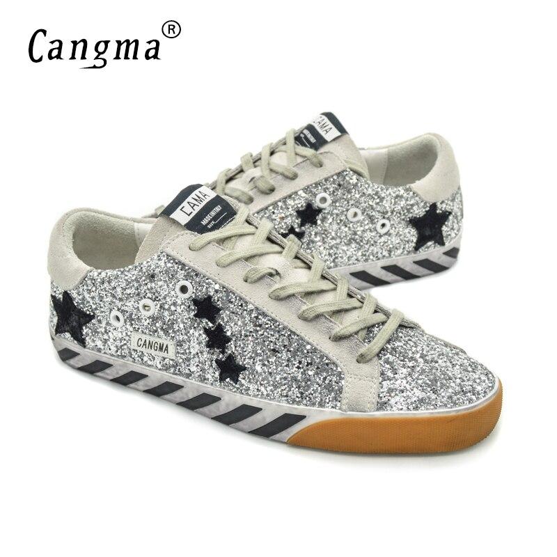ФОТО CANGMA Brand Designer Women Shoes Genuine Leather Sequin Superstar Originele Women's Casual Glitter Sliver Shoes Sapato Feminino