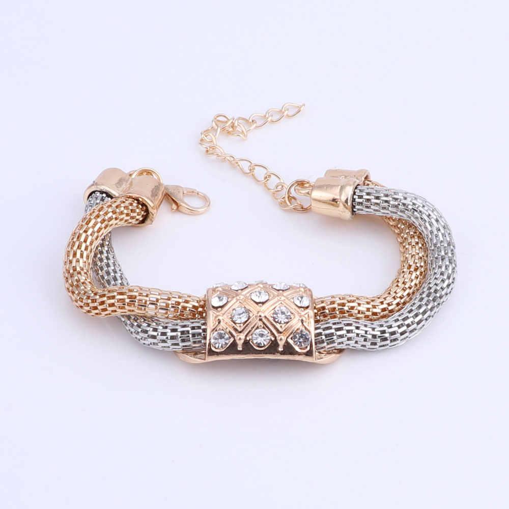 مجموعات المجوهرات للنساء العروسة الكريستال مجوهرات الزفاف الأفريقي الخرز مجموعة مجوهرات الذهب اللون الاثيوبية