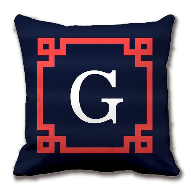 Navy C Red Greek Key Frame Init Monogram Throw Pillow Case Decorative Customize The Letter Gift