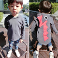Varejo de Moda Primavera Outono Bebés Meninos Camisolas Caráter Cotoon Camisa Marca Dos Desenhos Animados do Dinossauro Com Capuz Sólido Padrão Top