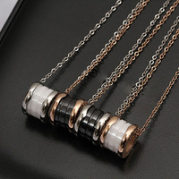 High Quality 316L Titanium Stainless Steel Black And White Ceramic Necklace Women Men Love Fashion Necklace