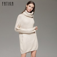 FATIKA Fashion 2017 Women Autumn Winter Knitted Dress Turtleneck Long Sleeve Ribbed Casual Mini Sweater Dresses