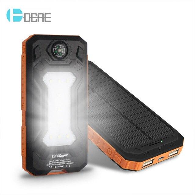 DCAE Путешествия Водонепроницаемый Солнечной Банк силы 12000 мАч 2 USB Внешняя Батарея Зарядное Устройство на Солнечных Свет Компас Для Всех Телефонов