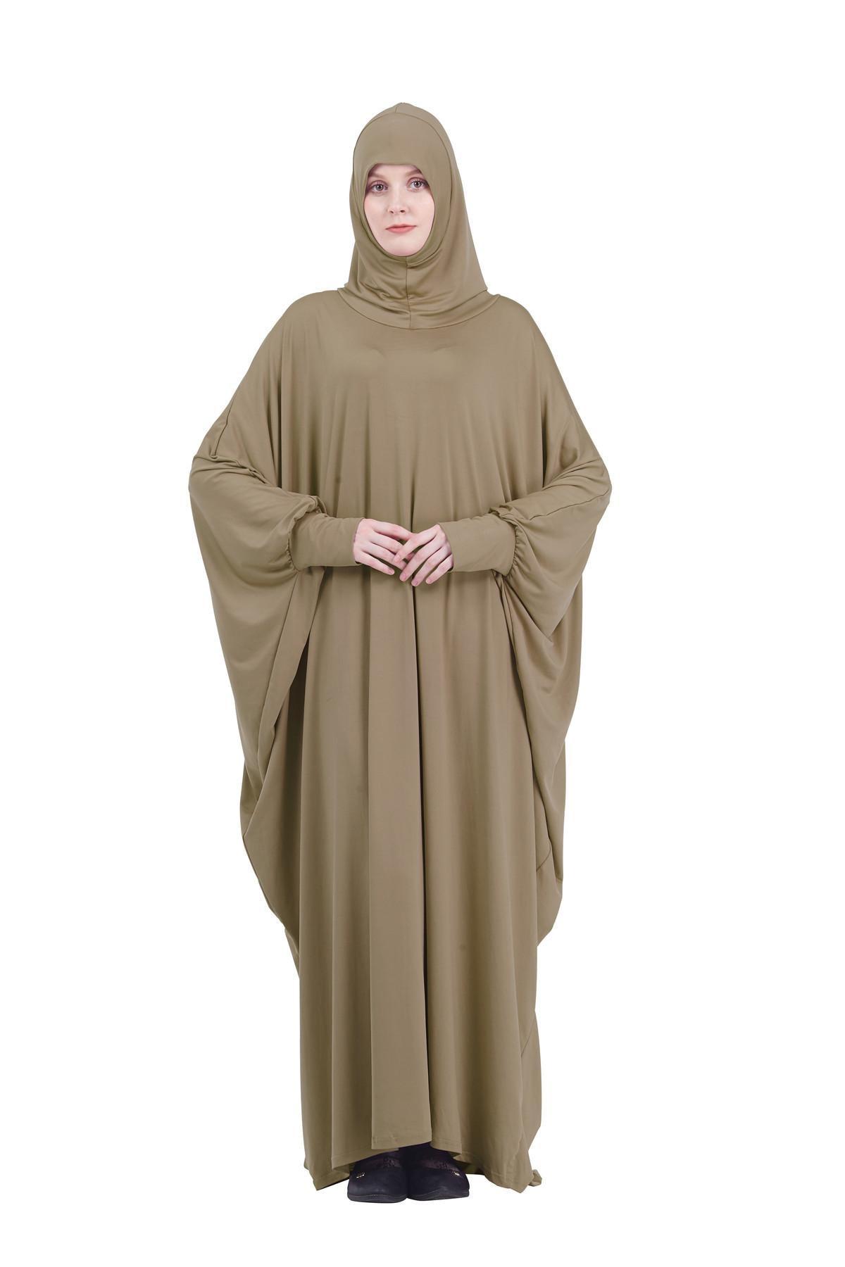 Muslim Women Full Cover Hooded Abaya Long Maxi Dress Islam Prayer Robe Kaftan Jilbab Arabic Ramadan Solid Color Worship Service