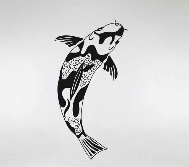 Koi Fish Wall Decals Custom Color Available Vinyl Stickers Home Decor Living Room Art Waterproof