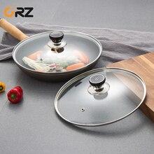 1Set 24cm+27cm Glass Pot lid pan Cove ith Knobs Handles Reusable Kitchen Cookware Parts Saucepan Skillet Wok Pan Lid