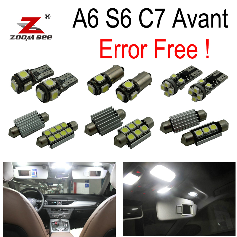 19pcs License Plate Lamp + Reading LED Bulb Interior Dome Light Kit Package For Audi A6 S6 RS6 C7 Avant Wagon (2012+)