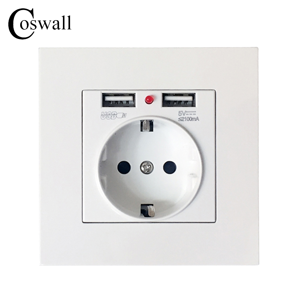 Coswall Dual USB Charging Port 2.1A Wall Charger Adapter EU Socket Power Outlet PC Panel White Black Gold dual usb port eu us uk plug socket wall panel w carved pattern white