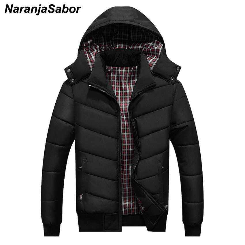 NaranjaSabor Winter Men's Thick Coats Hooded Slim Fit   Parkas   Casual Warm Mens Jackets Male Fashion Outerwear Men Brand Clothing