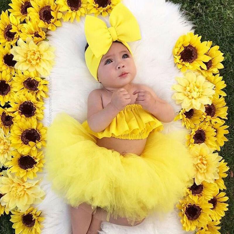 0-24M Princess Toddler Newborn Baby Girls Clothing Set Ruffles Tops + Lace Tutu Skirts Outfits Summer Birthday Costumes Baby
