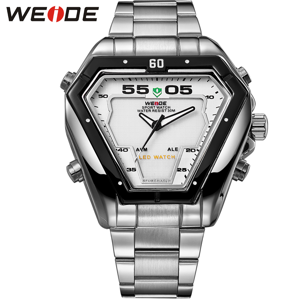WEIDE Original Brand LED Analog Display Watches Digital Men Sports Military Silver Stainless Steel Triangle Watch Men weide popular brand silver stainless steel watch men analog digital display quartz movement sports army military wrist watches