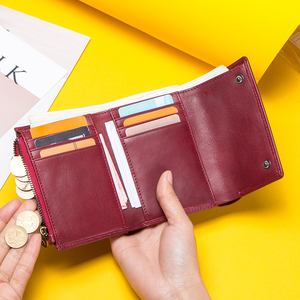 Image 3 - Contacts Fashion Coin Purse Zipper Wallet Genuine Leather Women Wallets Small Money Bag for Ladies Short Billfold Card Holder