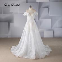 Rosabridal  Wedding Dress 2019 new design A Line deep sweetheart neckline  See Through Beading  Lace Appliques backless dress недорого