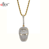 GUCY New ICED OUTIronman Inspired Pendant Necklace with Tennis Chain Cuban Chain Hip Hop Jewelry Street Culture