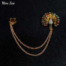 Miss Zoe Plum Flower Peacock Tassels Brooch Pin Buckle Colorful Rhinestone Crystal Gold Collar Corsage Shirt Badge Jewelry
